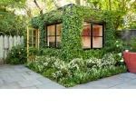 vine covered garden shed